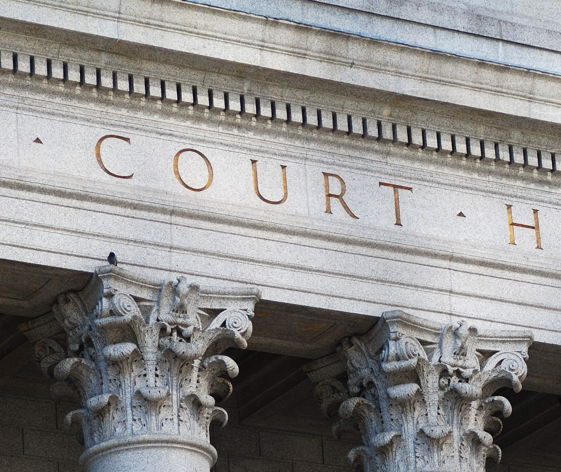 Close-up image of a courthouse